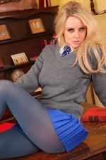 Amber Leigh strips out of her short blue miniskirt and tight grey sweater - 05