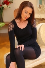 Stunning Sarah E Removes Her Black Minidress And Tights To Show Off Sexy Satin Underwear - Picture 4