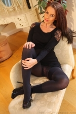 Stunning Sarah E Removes Her Black Minidress And Tights To Show Off Sexy Satin Underwear - Picture 8