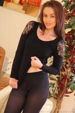 Stunning Sarah E Removes Her Black Minidress And Tights To Show Off Sexy Satin Underwear - Picture 12
