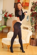 Stunning Sarah E Removes Her Black Minidress And Tights To Show Off Sexy Satin Underwear - Picture 13