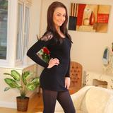 """""""Stunning Sarah E removes her black minidress and tights to show off sexy satin underwear."""""""