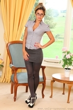 Sexy speced secretary in opaque stockings - 01