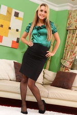 Kinky Blonde Secretary Catherine Teases Her Way Out Of Her Tight Silk Blouse And Black Pencil Skirt - Picture 1