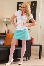 Hannah B In Silk Office Wear And White Suspenders - Picture 1