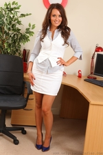 Long Haired Beauty Zoe Alexandra Looking Great In Her Secretary Outfit And Even Better Out Of It - Picture 1