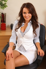 Long Haired Beauty Zoe Alexandra Looking Great In Her Secretary Outfit And Even Better Out Of It - Picture 2