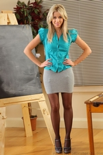 Bianca H In Silk Teachers Outfit And Black Suspenders - Picture 1