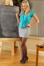 Bianca H In Silk Teachers Outfit And Black Suspenders - Picture 2