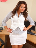 Long Haired Beauty Zoe Alexandra Looking Great In Her Secretary Outfit - Picture 1