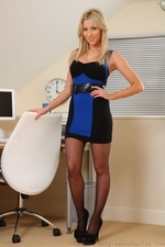 Bianca H Strips From Blue Dress And Suspenders - Picture 1