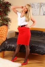 Gorgeous blonde releaxes after long day in office and slowly gets out of her tight outfit - 01