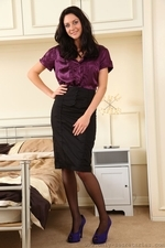 Long legged stunner dresses in tight pencil skirt and sexy satin blouse - 01