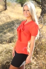 Sexy Blonde Candice Removes Her Secretary Outfit Outdoors - Picture 1