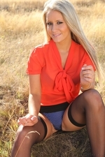 Sexy Blonde Candice Removes Her Secretary Outfit Outdoors - Picture 3