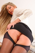 Naughty Blonde Lexi Lowe Strips At The Office - Picture 8