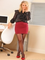 Busty Blonde Melissa D In Sexy Black Pantyhose - Picture 1