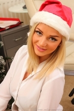 Cute Christmas Secretary Victoria in stockings - 07