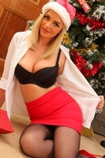 Cute Christmas Secretary Victoria in stockings - 13