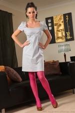 Georgina D posing in smart casual knee length dress - 01