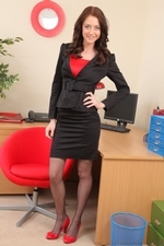 Beauty in black miniskirt suit - 01