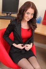 Beauty in black miniskirt suit - 05