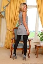 Amazing Blonde Danni B In Very Short Secretary Dress - Picture 3