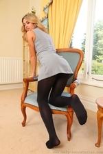 Amazing Blonde Danni B In Very Short Secretary Dress - Picture 10