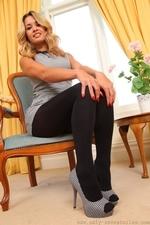 Amazing blonde Danni in very short secretary dress - 05
