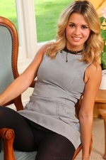 Amazing blonde Danni in very short secretary dress | 19 September 2014