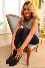 Amazing blonde Danni in very short secretary dress - 08
