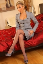Blonde Secretary Natalia X Stripping To Her Stockings - Picture 5