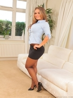 Amazing secretary Emma K in black pantyhose - 04