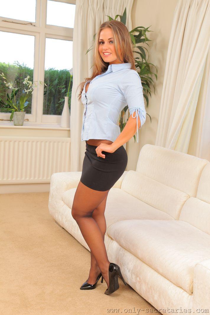 Amazing secretary Emma K in black pantyhose