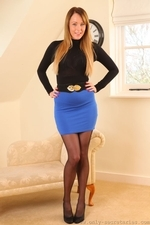Stunning auburn haired Lacey in miniskirt and pantyhose - 01