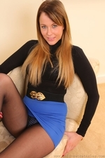Stunning auburn haired Lacey in miniskirt and pantyhose | 19 October 2014