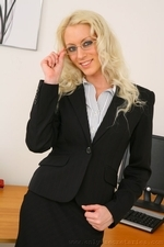 Sexy Secretary Shelley R Strips Out Of Her Smart Office Outfit - Picture 1