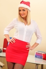Amazing blonde Erica teasing in stockings - 02