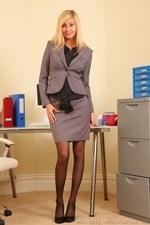 Long Legged Blonde Barka In Black Stockings - Picture 1