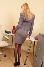 Long legged blonde in black stockings - 02