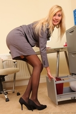 Long legged blonde in black stockings - 03