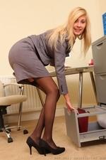 Long legged blonde in black stockings - 03