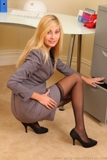 Long legged blonde in black stockings - 05