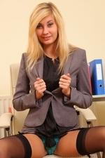 Long legged blonde in black stockings - 08
