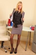 Long legged blonde in black stockings - 09