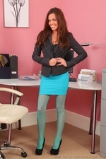 Sexy redhead in turquoise pantyhose - 01