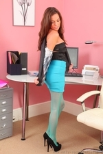 Sexy redhead in turquoise pantyhose - 07