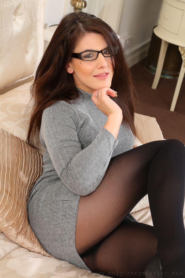 Briony looks lovely in her secretary dress