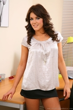 Kelly M Takes Off Her Blouse And Miniskirt In Her Office - Picture 1