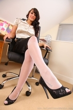 Emma K Strips From Silk Office Outfit - Picture 2